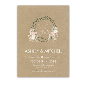 Floral Wreath Kraft Wedding Save the Date Card