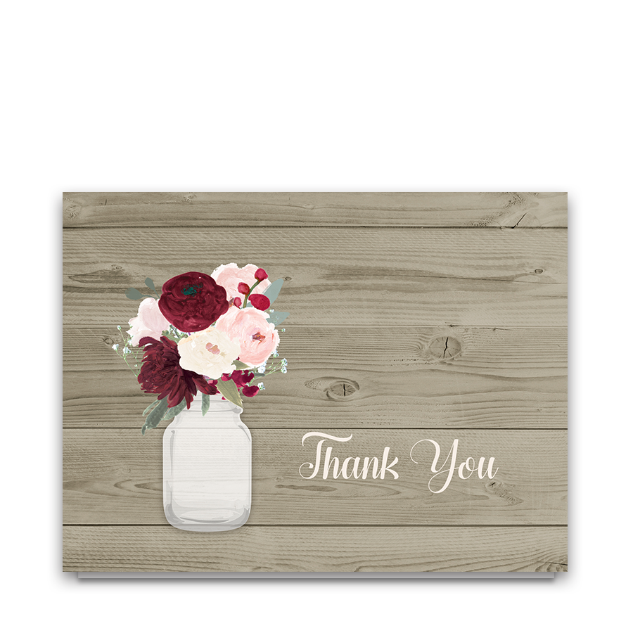 Rustic Mason Jar Burgundy Floral Thank You Cards