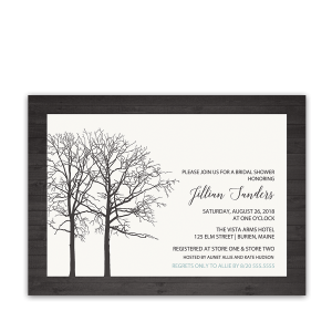 Rustic Barn Wood Tree Winter Bridal Shower Invitation