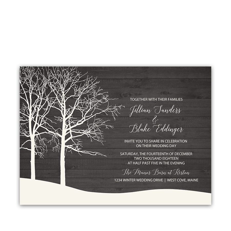 Rustic Barn Wood and Trees Winter Wedding Invitations