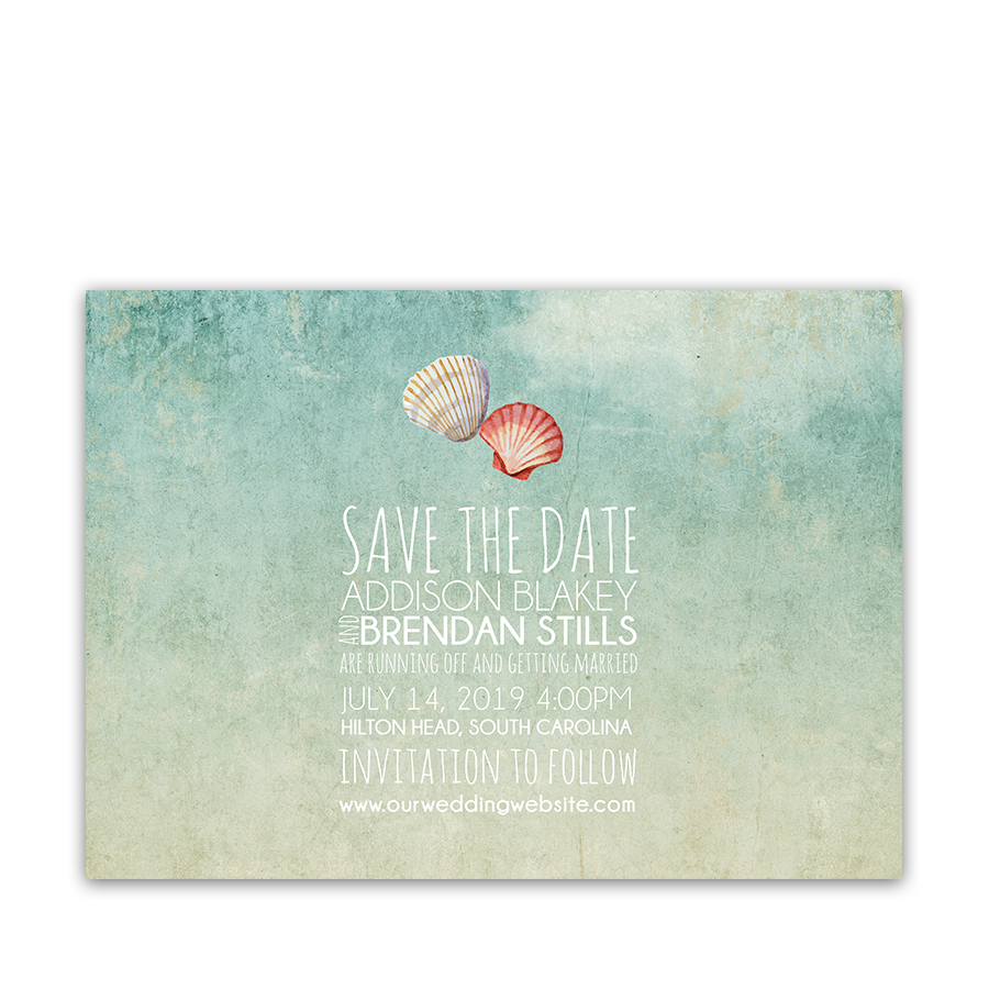 Beach Wedding Watercolor Seashell Save the Date Card