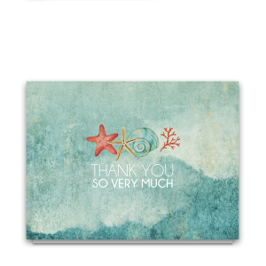 Beach Theme Thank You Cards Seashells and Starfish