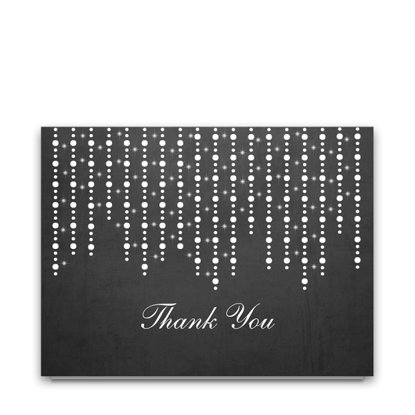 Chalkboard Wedding Thank You Cards with String Lights