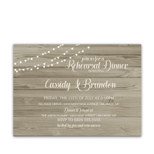 Rustic Wood String Lights Wedding Rehearsal Invitation