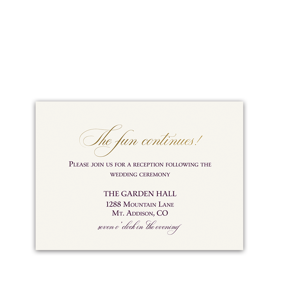 Burgundy Gold Script Boho Wedding Reception Card