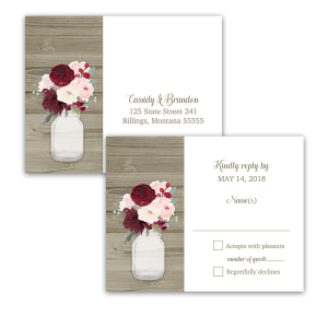 Rustic Mason Jar Burgundy Floral Wedding RSVP Postcard