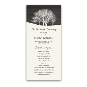 Rustic Winter Wonderland Wedding Ceremony Program