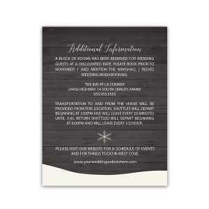 Winter Wedding Additional Information Insert Card