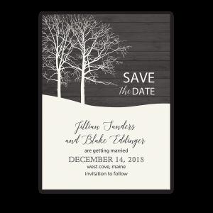 Rustic Barn Wood Winter Wedding Save the Date Card