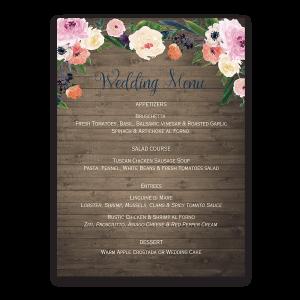 Watercolor Floral Rustic Custom Wedding Menu
