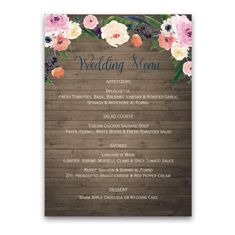 Watercolor Floral Rustic Custom Wedding Menu