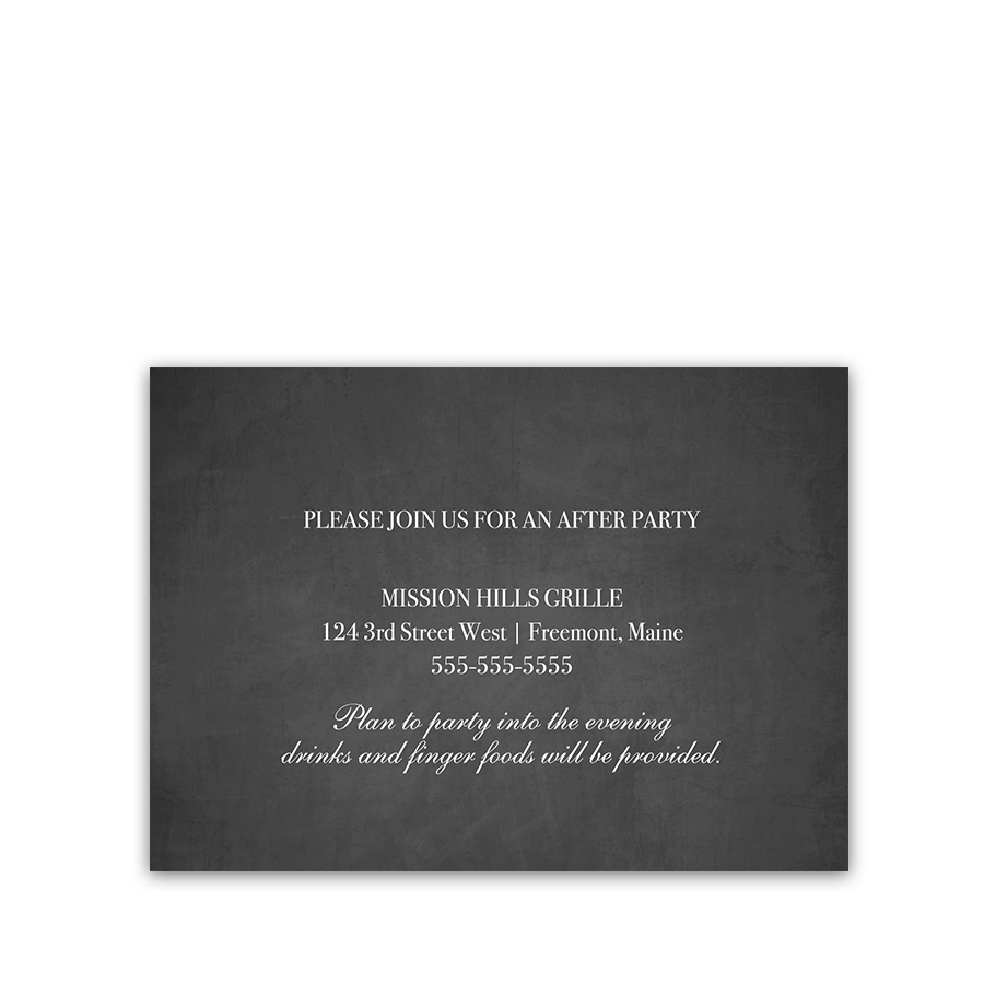 Chalkboard and String Lights Wedding Reception Insert Card