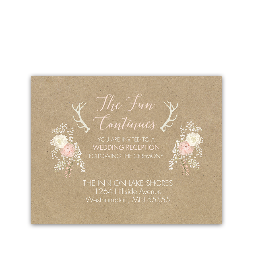 Bohemian Antler Floral Wreath Wedding Reception Insert