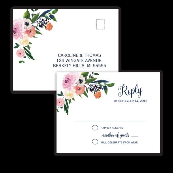 Watercolor Floral Flowers Wedding RSVP Postcards