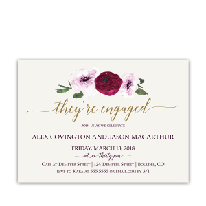 Floral Watercolor Marsala Gold Engagement Party Invites