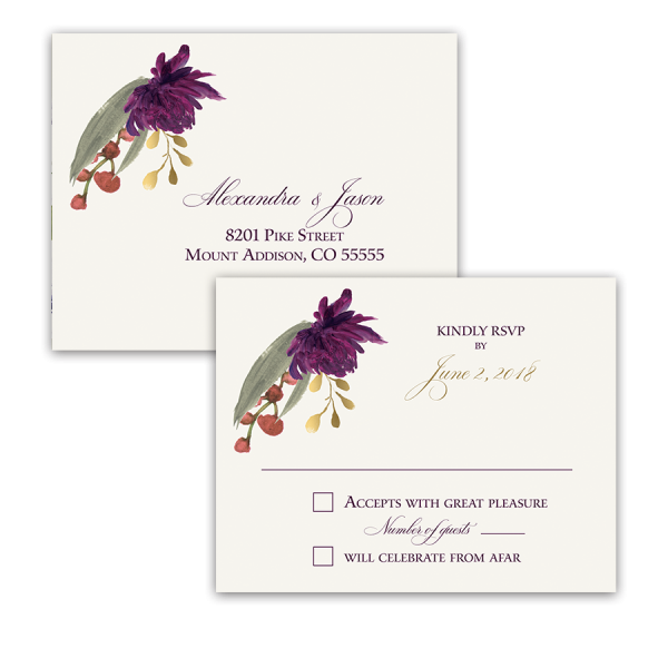 Floral Wedding RSVP Postcard Purple Burgundy Flowers