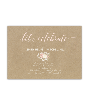 Kraft Engagement Party Invitation Bohemian Floral