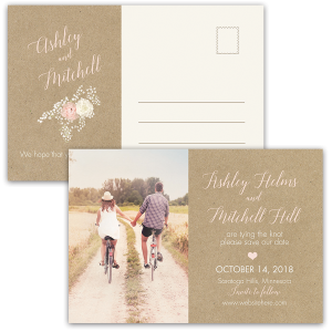 Rustic Kraft Wedding Save the Date Photo Postcard