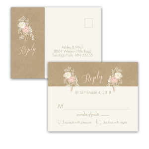 Kraft Wedding RSVP Postcard Bohemian Antler Floral Wreath