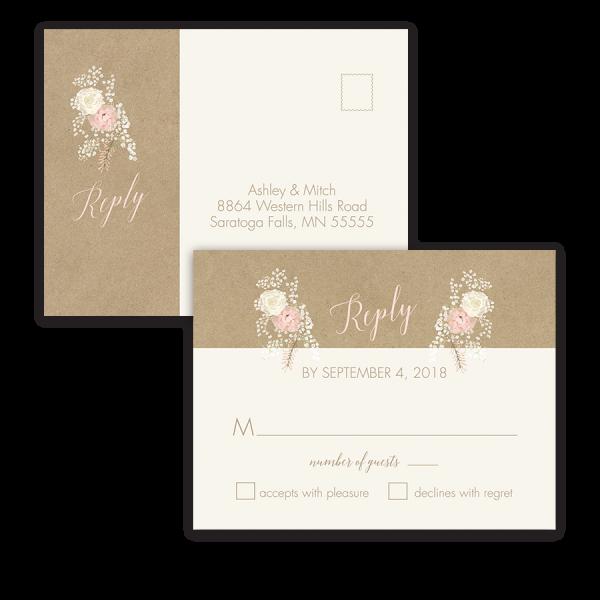 Kraft Wedding RSVP Postcard Bohemian Antler Floral Wreath