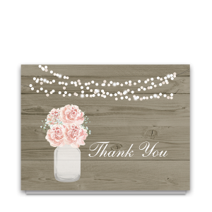 Rustic Mason Jar Wedding Thank You Cards Blush