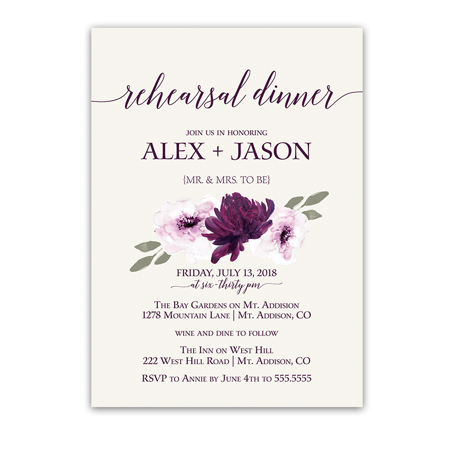 Purple Watercolor Flowers Wedding Rehearsal Invitation