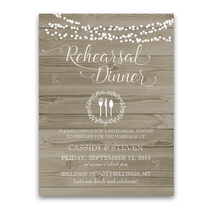Rustic Barn Wood Wedding Rehearsal Dinner Invitation