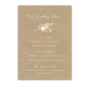 Rustic Boho Floral Kraft Wedding Menu Blush Cream