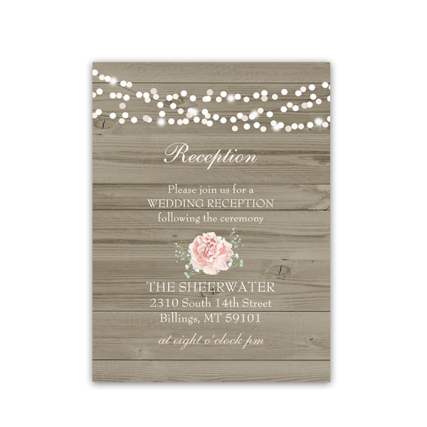 Rustic Barn Wood Floral Wedding Reception Card