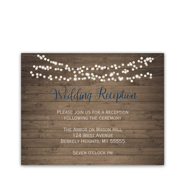 Rustic Barn Wood String Lights Wedding Reception Card