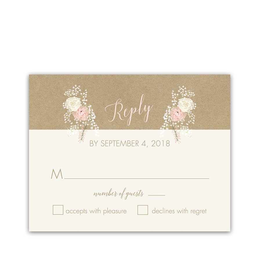 Kraft Wedding RSVP Card Bohemian Antler Floral Wreath
