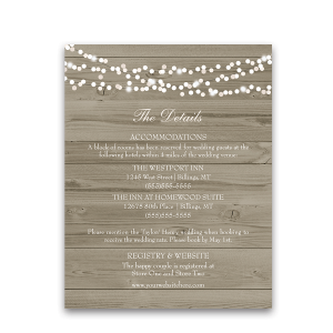 Rustic Barn Wood Floral Wedding Information Card