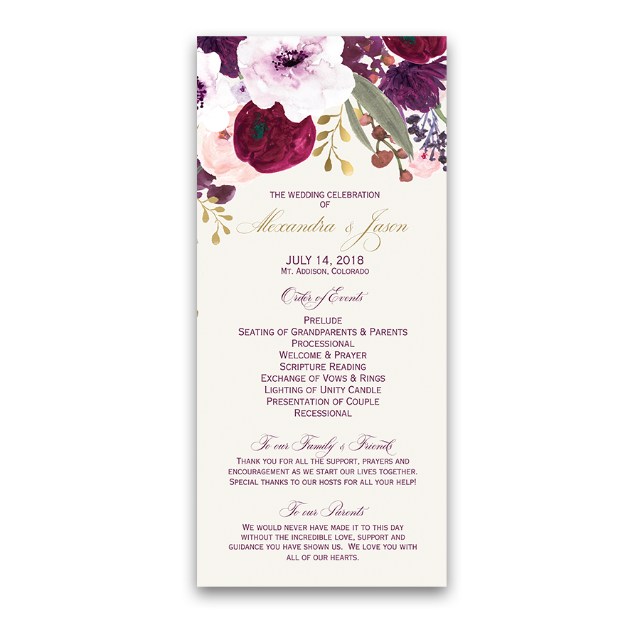 Floral Watercolor Flowers Purple Gold Wedding Program