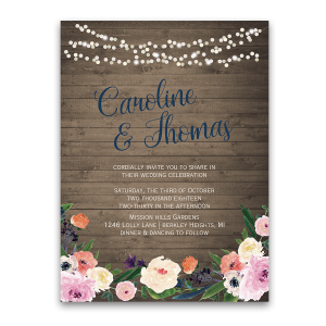 Watercolor Floral Bohemian Wildflower Wedding Invitation