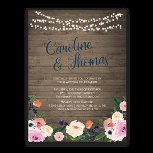 Watercolor Floral Bohemian Wildflower Wedding Invitation
