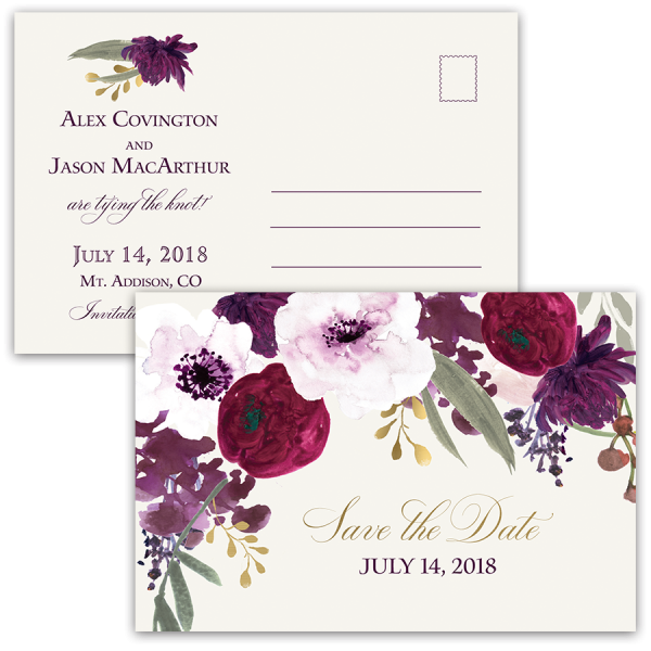 Burgundy and Gold Floral Boho Postcard Save the Date