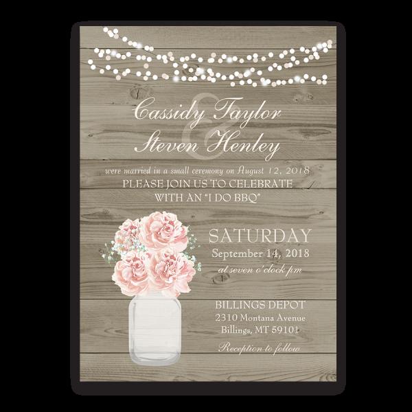 Rustic Mason Jar Blush Floral Wedding Reception Invitation