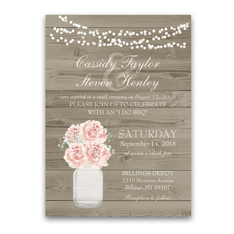 Rustic Mason Jar Blush Floral Wedding Reception Invitation