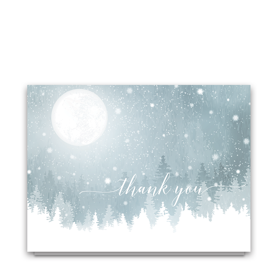 Rustic Snowflake Winter Wedding Thank You Cards