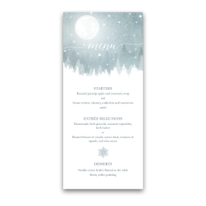 Rustic Winter Snowflakes Wedding Custom Menu