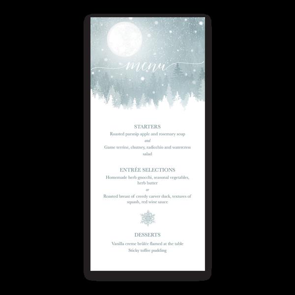 Rustic Winter Snowflakes Wedding Custom Menu