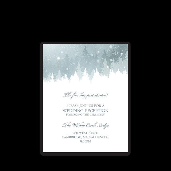 Rustic Snowflake Winter Wedding Reception Insert Card