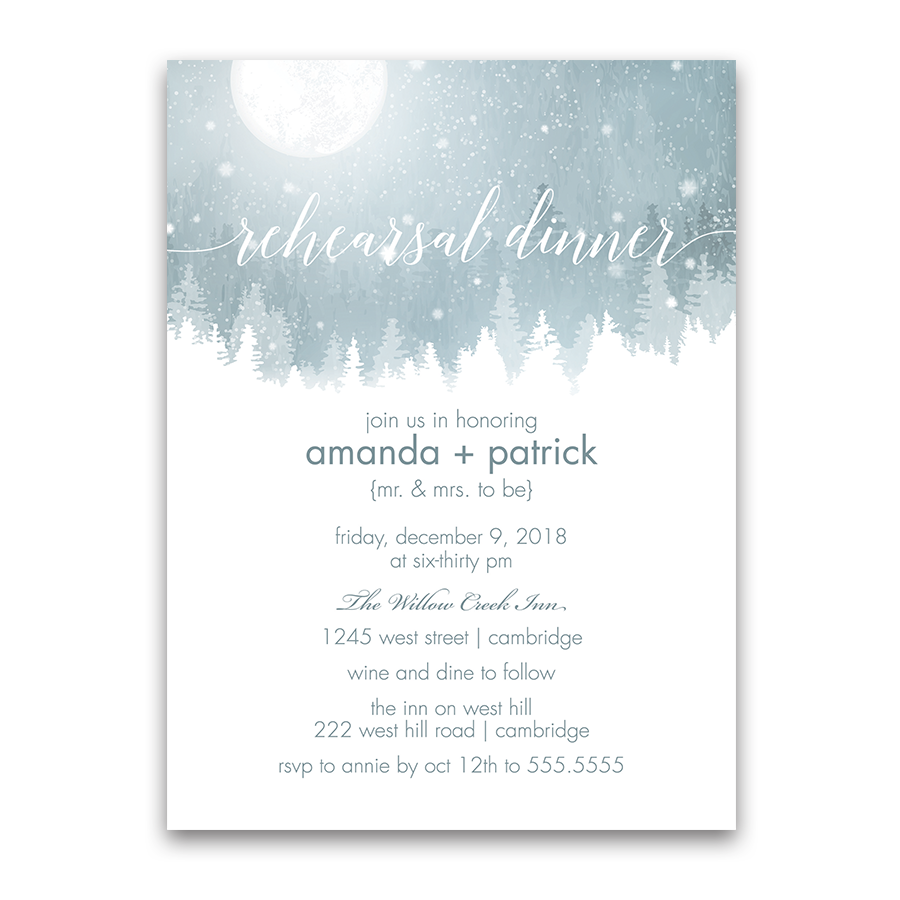 Rustic Snowflake Winter Wedding Rehearsal Invite