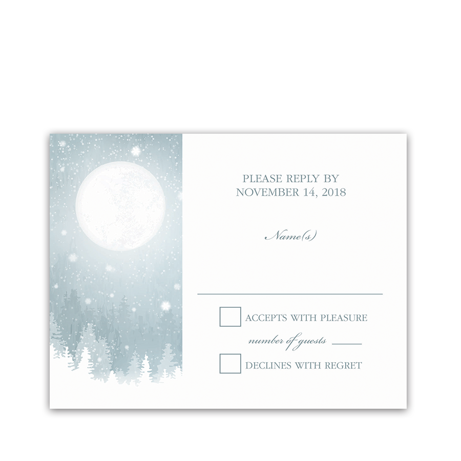 Rustic Snowflake Winter Wedding RSVP Response Card