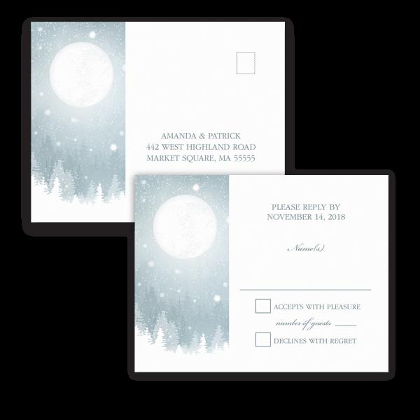 Rustic Snowflake Blue Winter Wedding RSVP Postcard