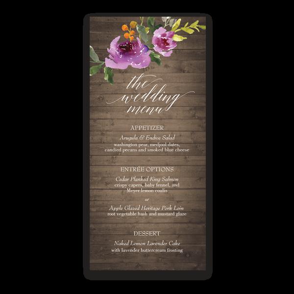 Rustic Wood Watercolor Floral Purple Wedding Menu