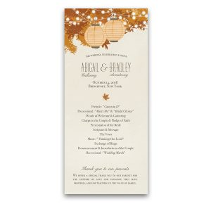 Fall Leaves Autumn Wedding Program Order of Service