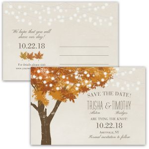 Rustic Fall Tree Wedding Save the Date Postcards