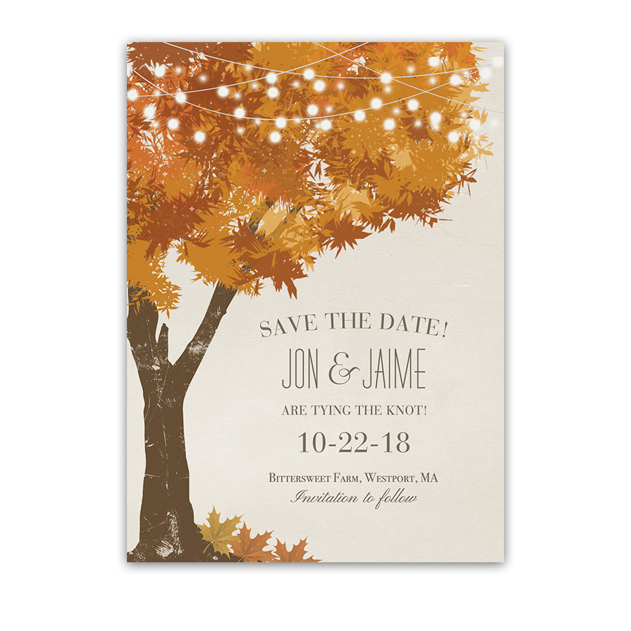 rustic fall tree wedding save the date cards golden leaves