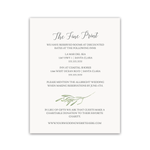 Laurel Leaves Wedding Guest Information Insert Card